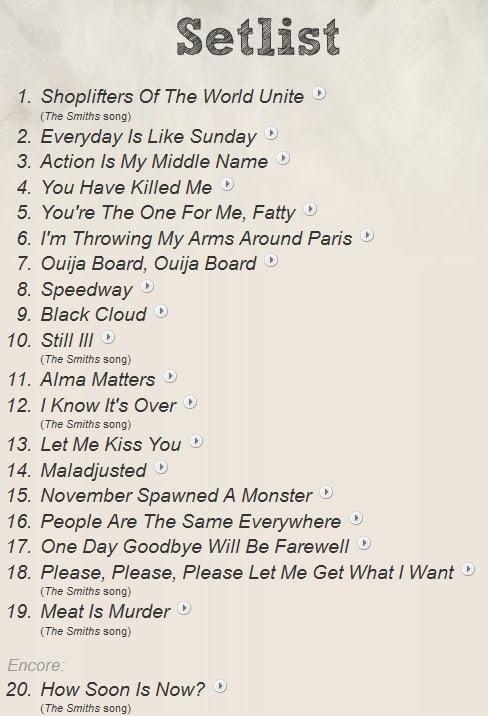 Morrissey Strathmore 2013 Setlist