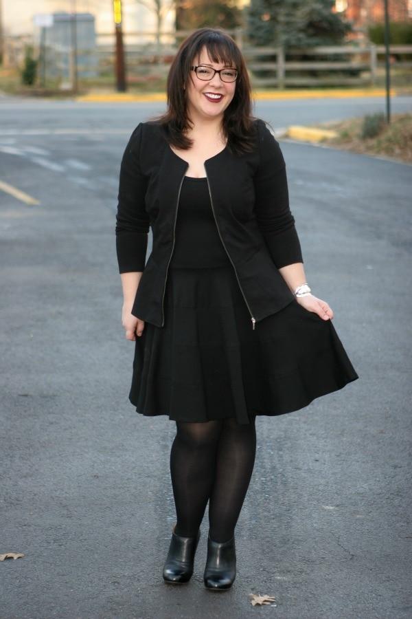black ponte dress