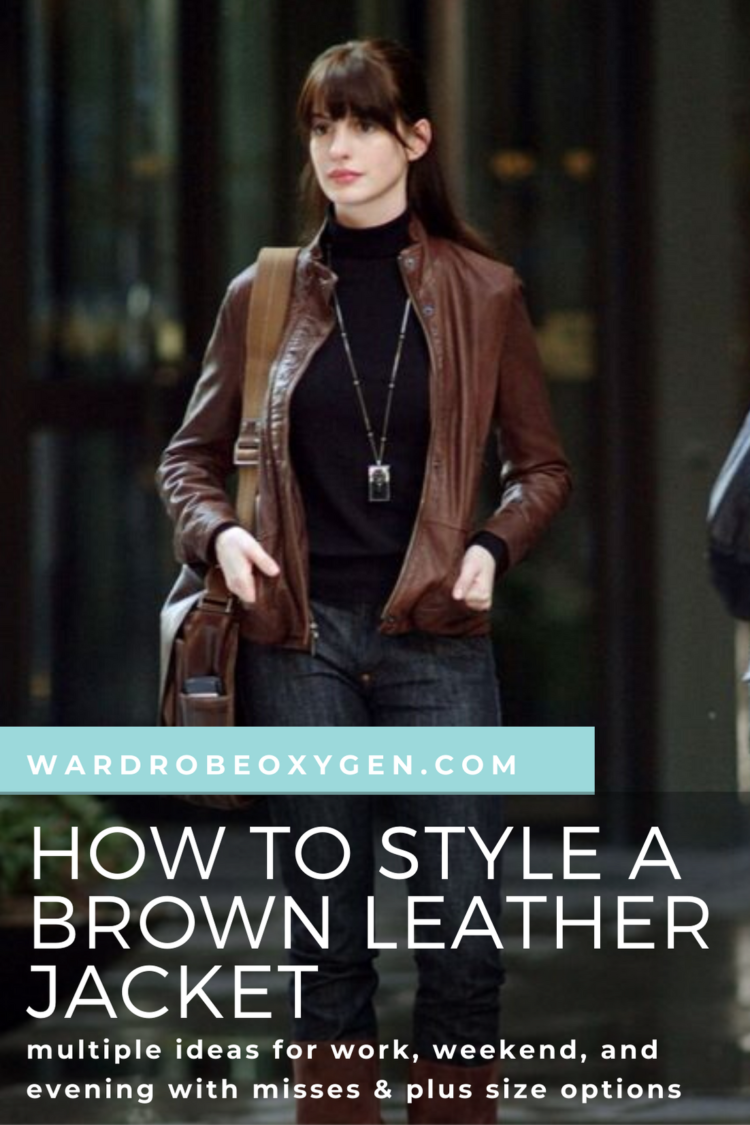 how to style a brown leather jacket for women