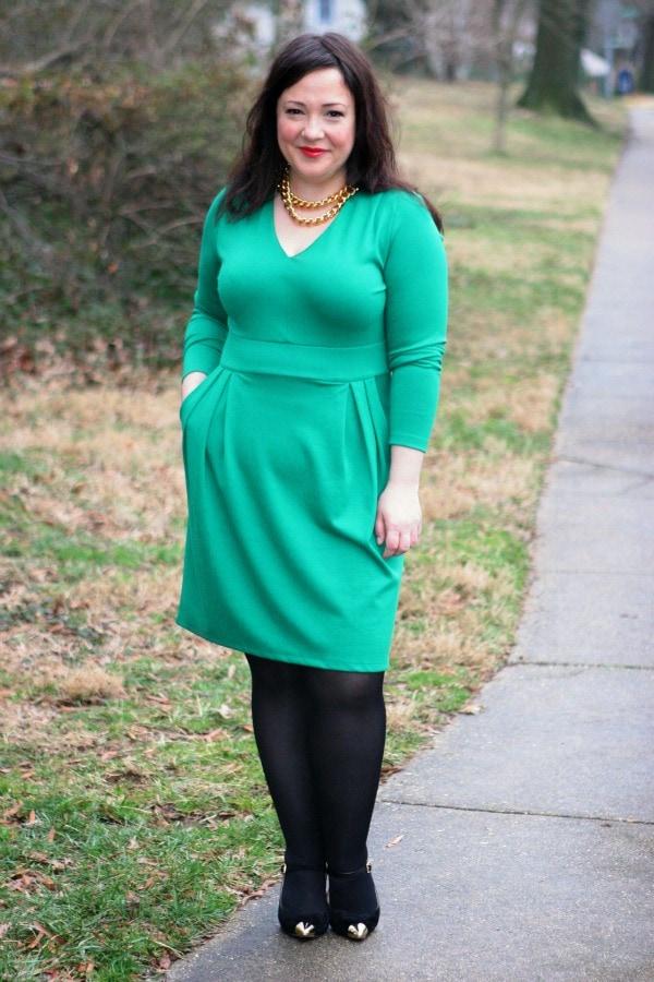 lands end green ponte dress