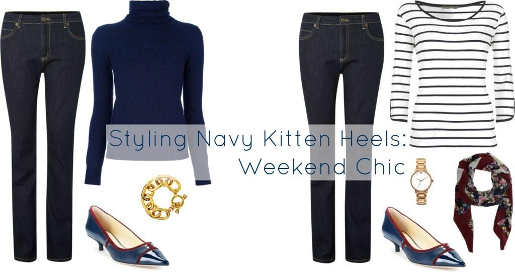weekend style navy kitten heels vc signature