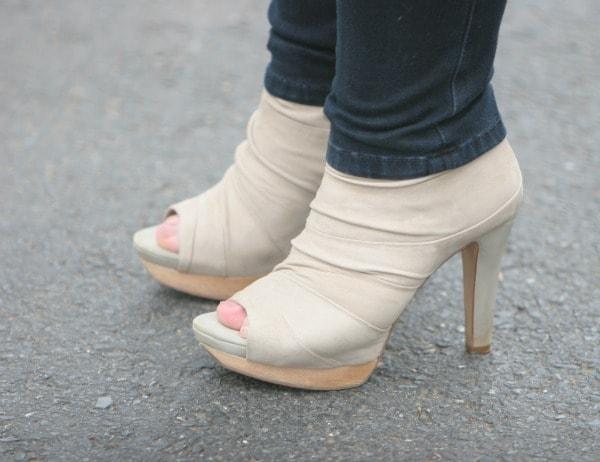 beige suede ankle bootie