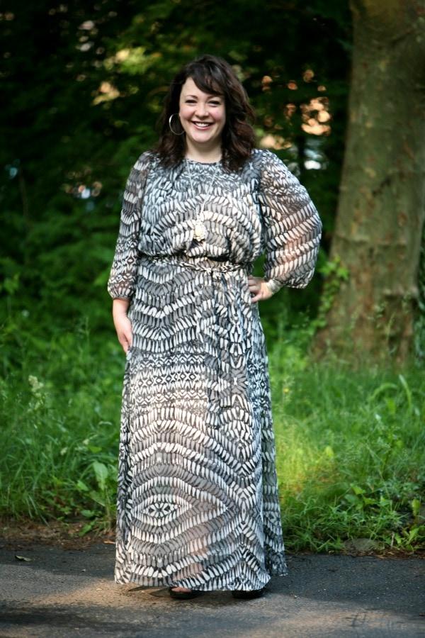 long sleeve maxi dress gray