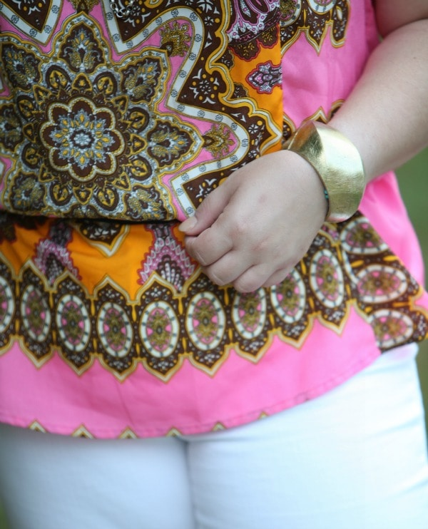 in pink gold brushed large bangle hinged