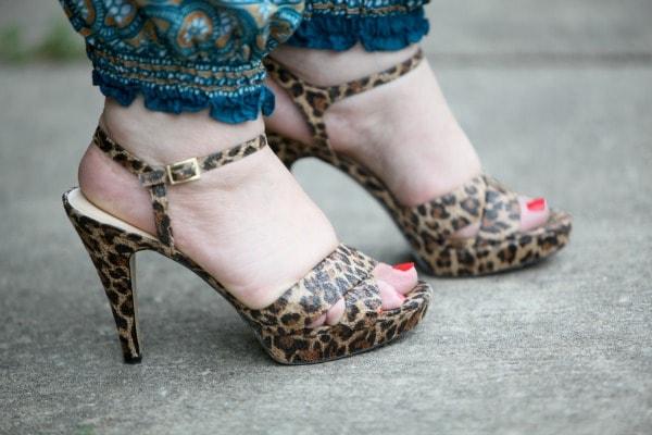 leopard platform heel sandals