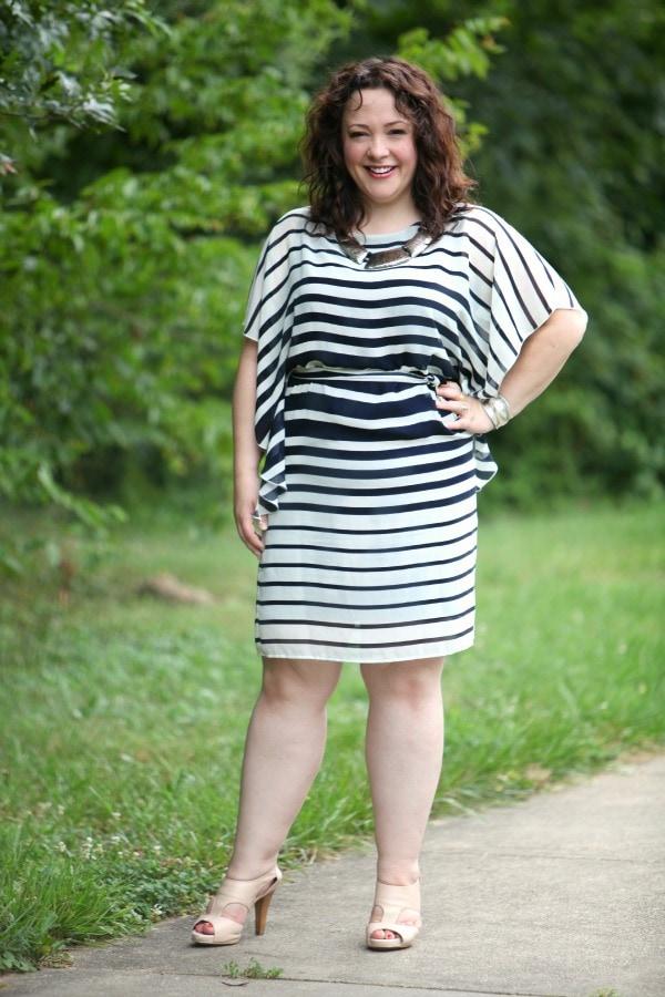 navy ivory stripe dress chiffon