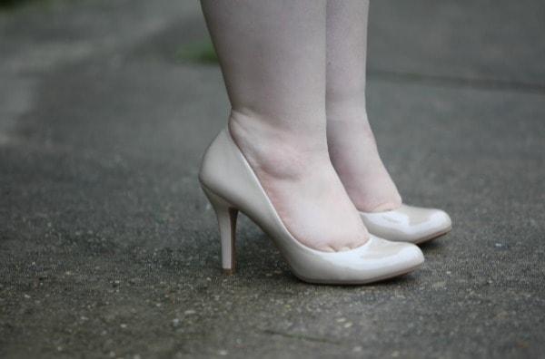 nude patent round toe pumps