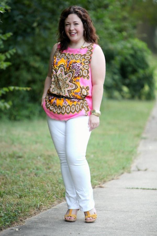 pink yellow paisley sleeveless scarf blouse eloquii