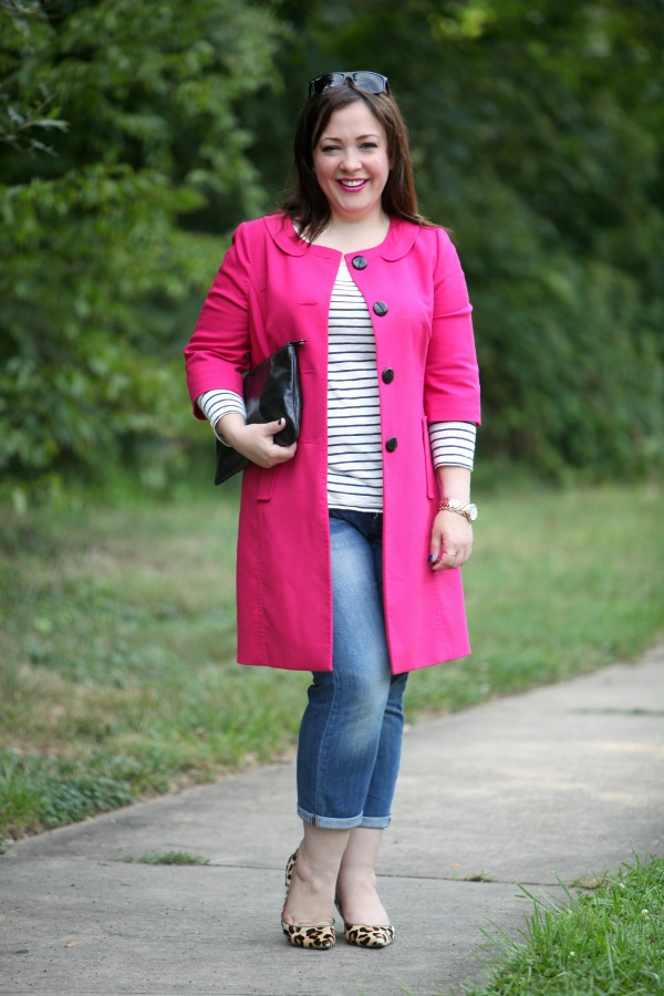hot pink with denim stripes gold
