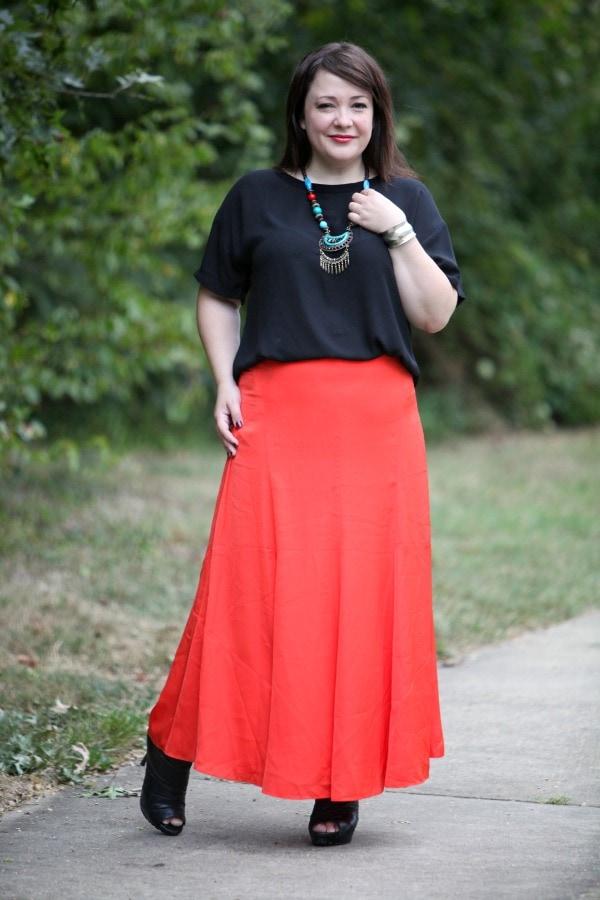 ann taylor maxi skirt orange