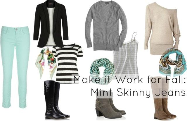 mint skinny jeans how to wear winter fall