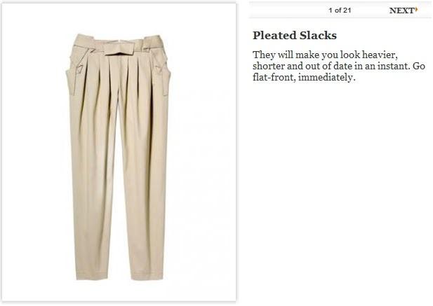 pleated slacks