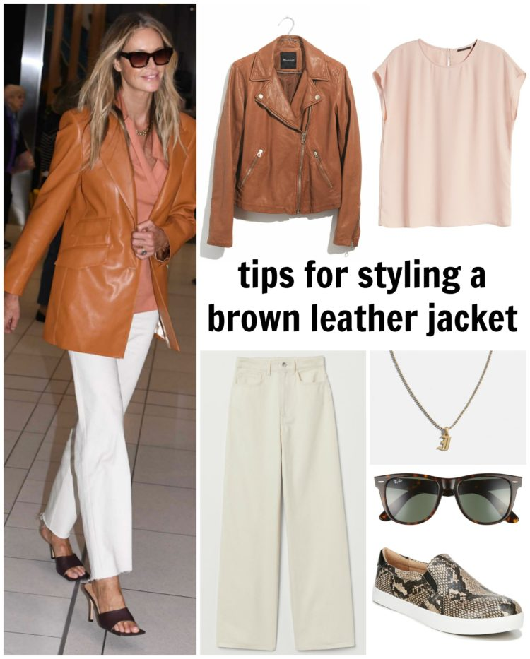 collage styling a brown leather jacket with a blush blouse and cream wide leg pants