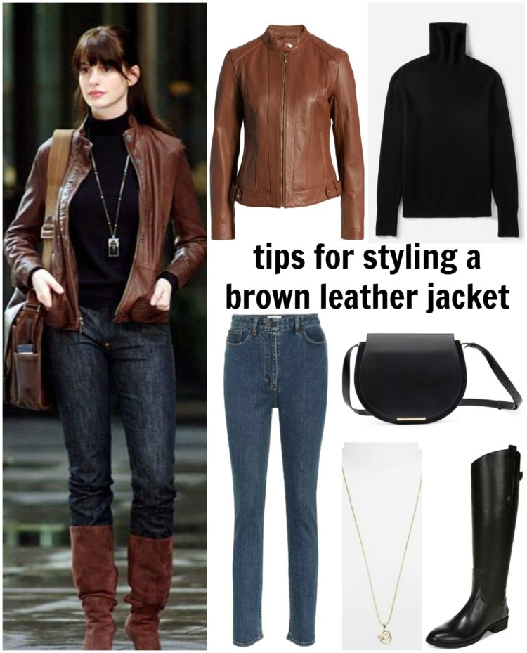 collage showing how to style a brown leather jacket with black