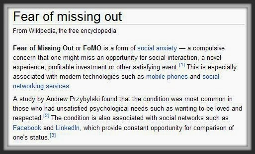 FOMO definition fear of missing out