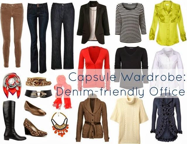 capsule wardrobe denim jeans office