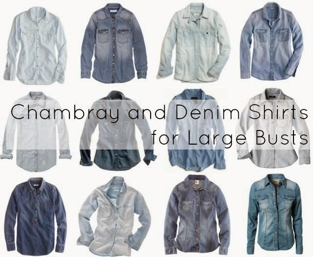 large bust chambray denim shirt