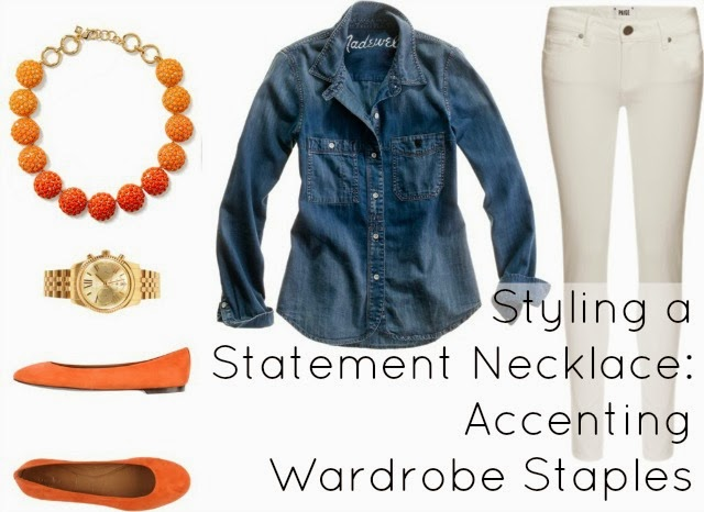 how to style denim shirt statement necklace white skinny jeans