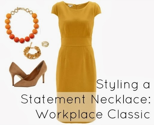 how to style necklace statement work dress