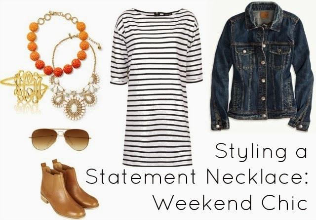 weekend style statement necklace dress denim jacket