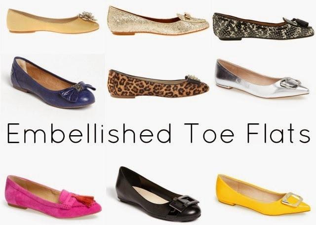 embellished toe flats