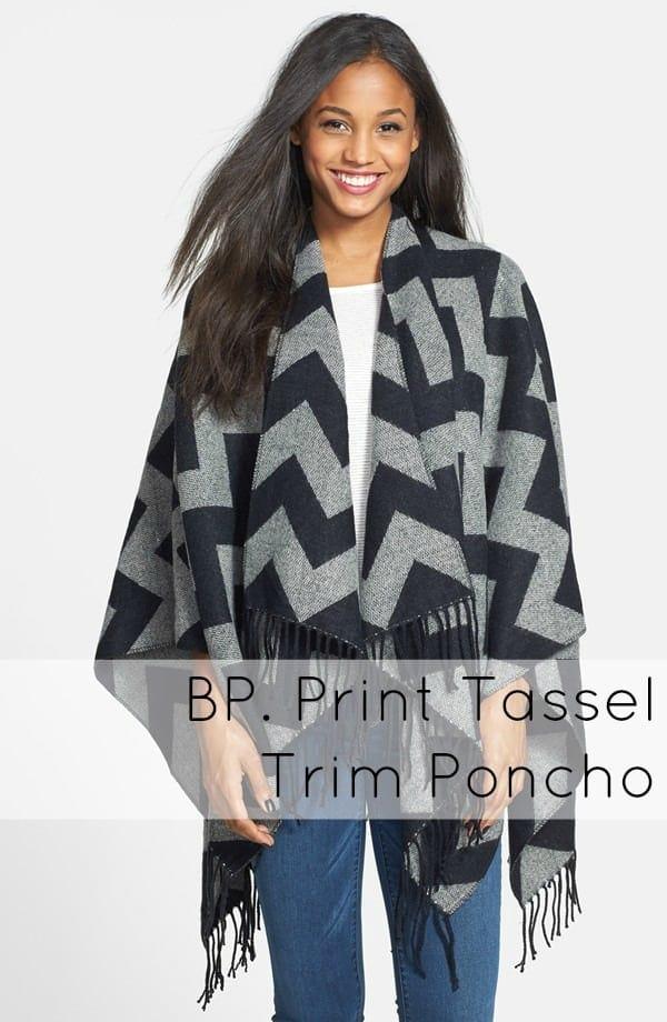 bp print tassel trim poncho