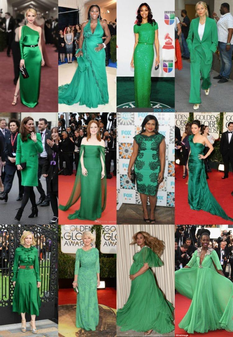 celebrities wearing green