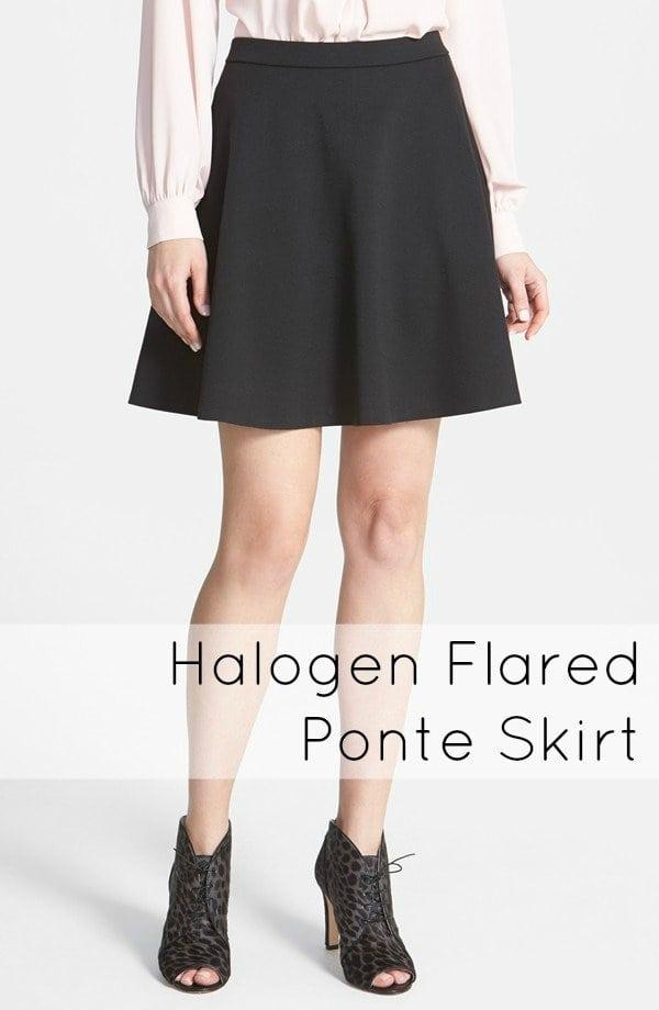 halogen flared ponte skirt