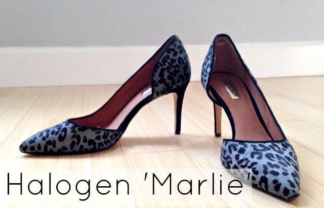halogen marlie calfhair leopard gray pump