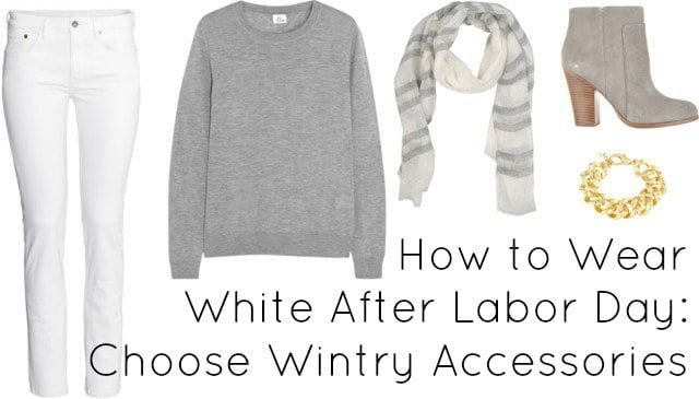how to wear white after labor day wintry accessories