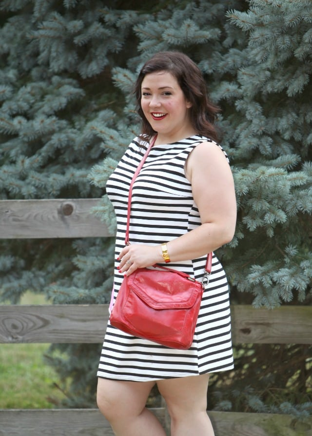 latico red purse stripe dress