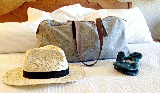 Everlane Twill Weekender Bag J. Crew Panama Hat Linge Ballet Shoes