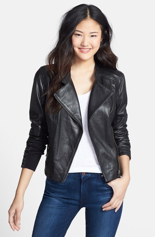 Halogen Zip Detail Leather Moto Jacket