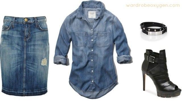 How to wear double denim denim skirt shirt
