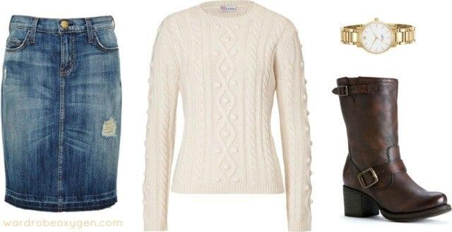 how to style denim skirt fall winter