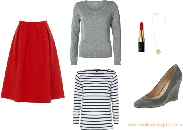 how to style wedge shoes with a skirt