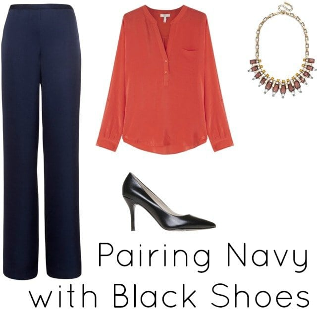 navy with black shoes