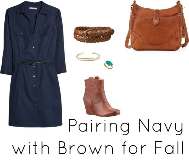 navy with brown