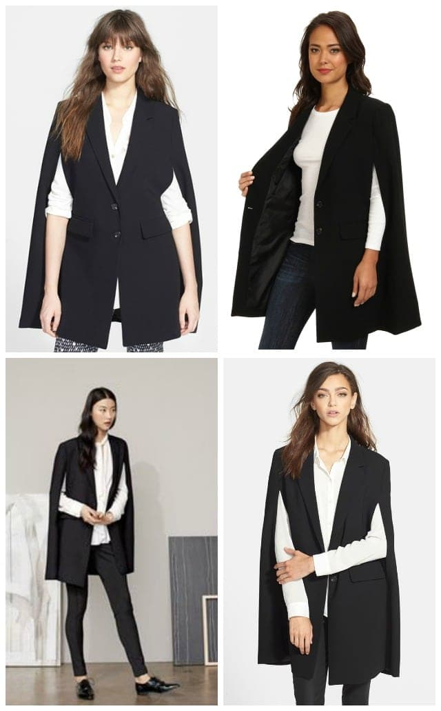 The Vince Camuto Notch Collar Cape is so odd I had to share multiple photos
