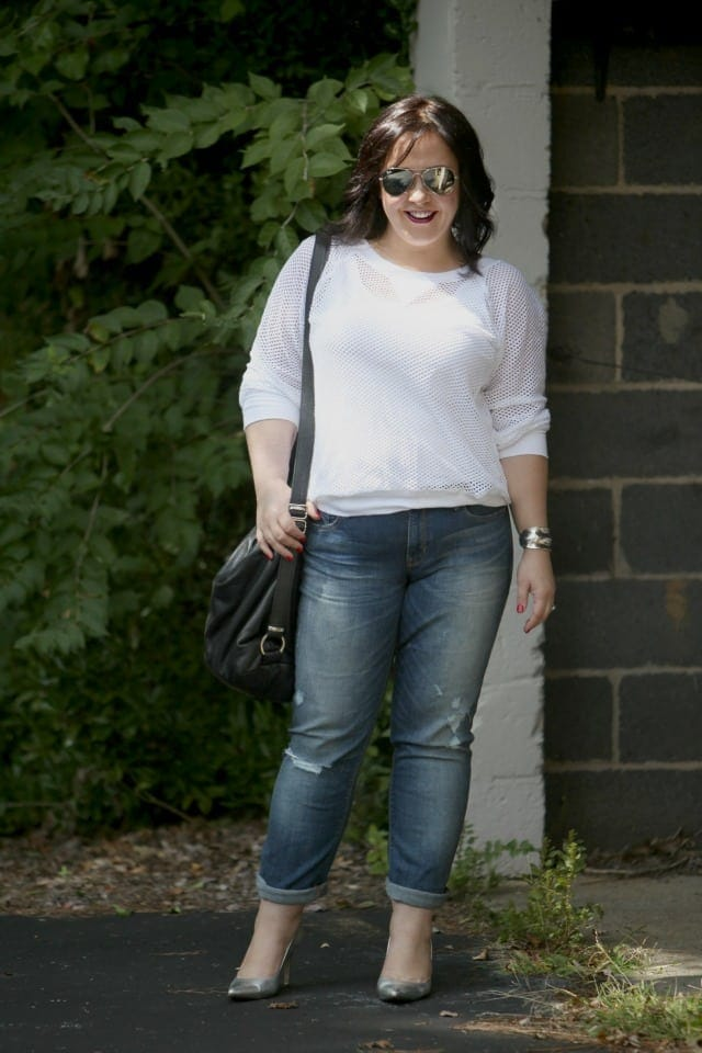 wardrobe oxygen what I wore Gap Real Straight Jeans Karen Kane Top Rough Tumble Bag