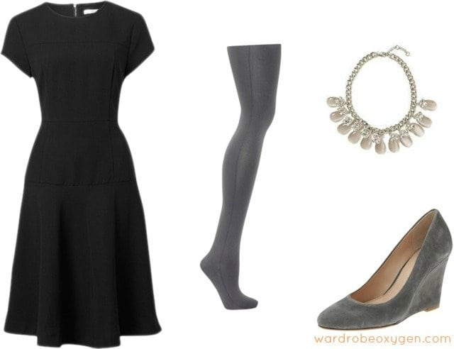 wedge shoes with tights dress how to wear