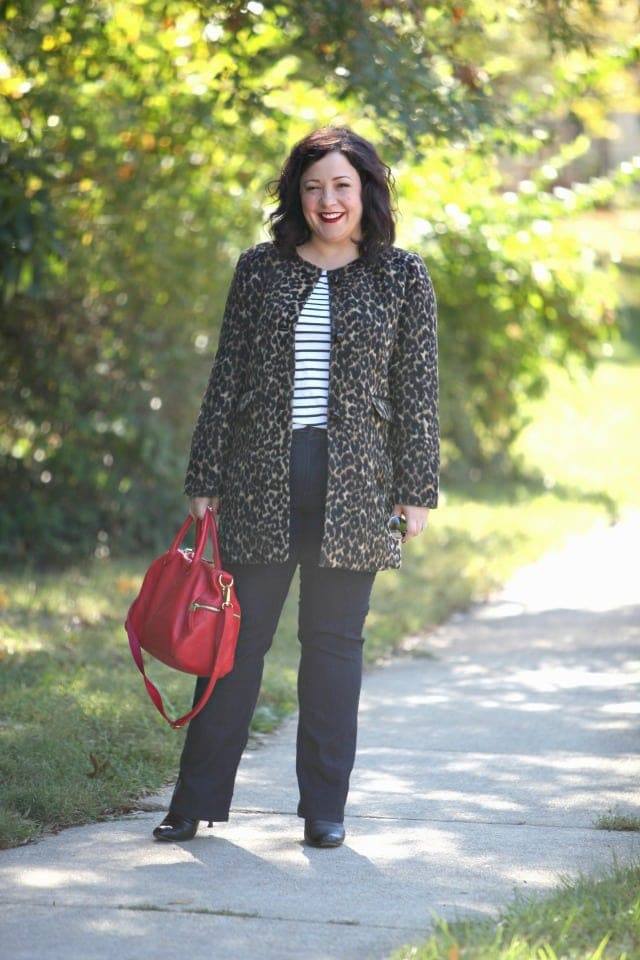 wardrobe oxygen what i wore leopard coat talbots