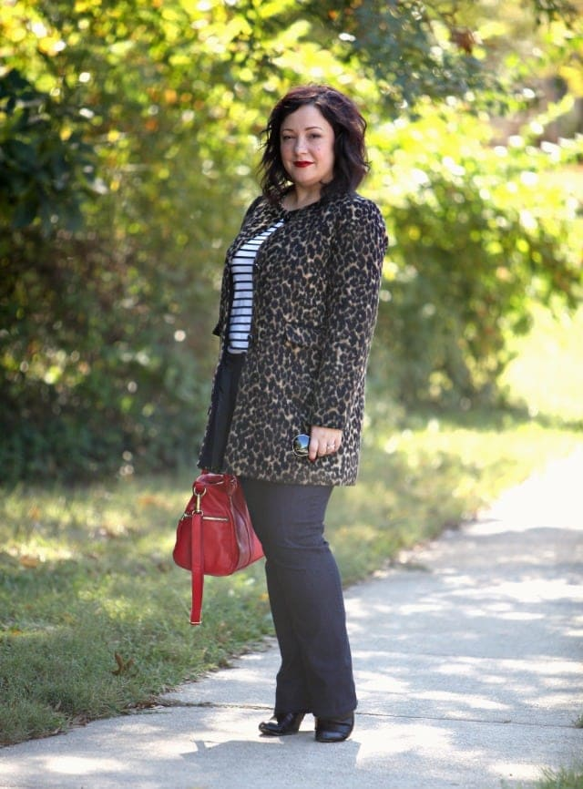 wardrobe oxygen what i wore talbots leopard coat