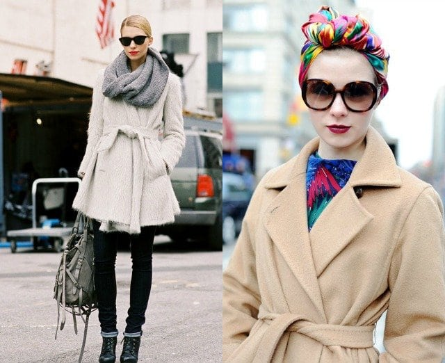 what scarf with a belted wrap coat