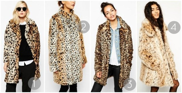 leopard faux coats under 200 asos
