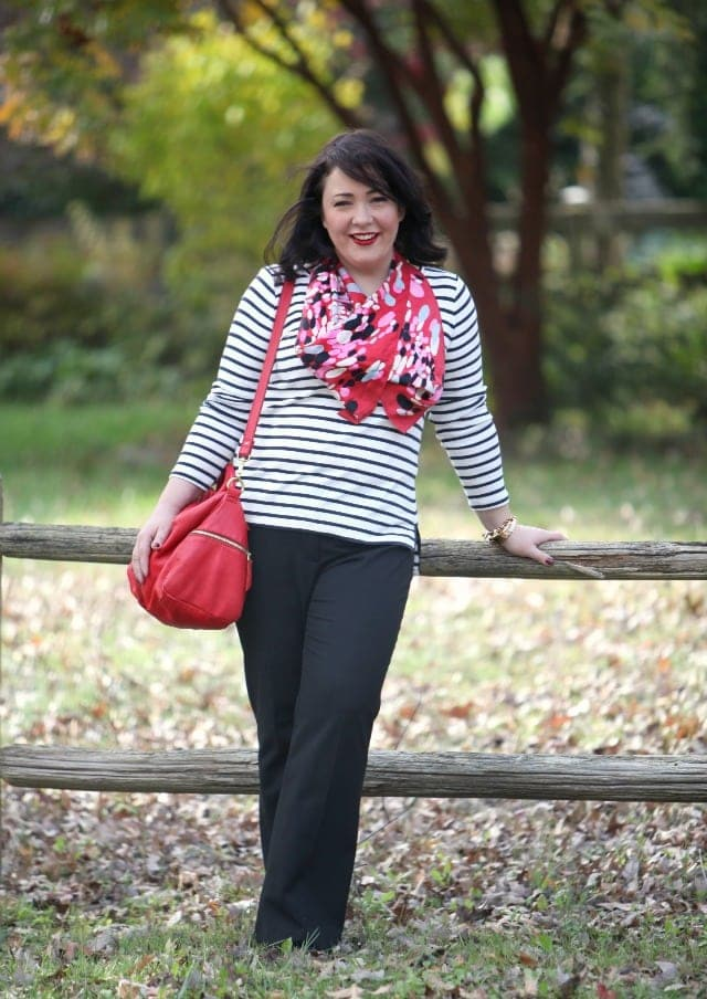wardrobe oxygen what I wore ann taylor stripe tee loft pants fossil bag