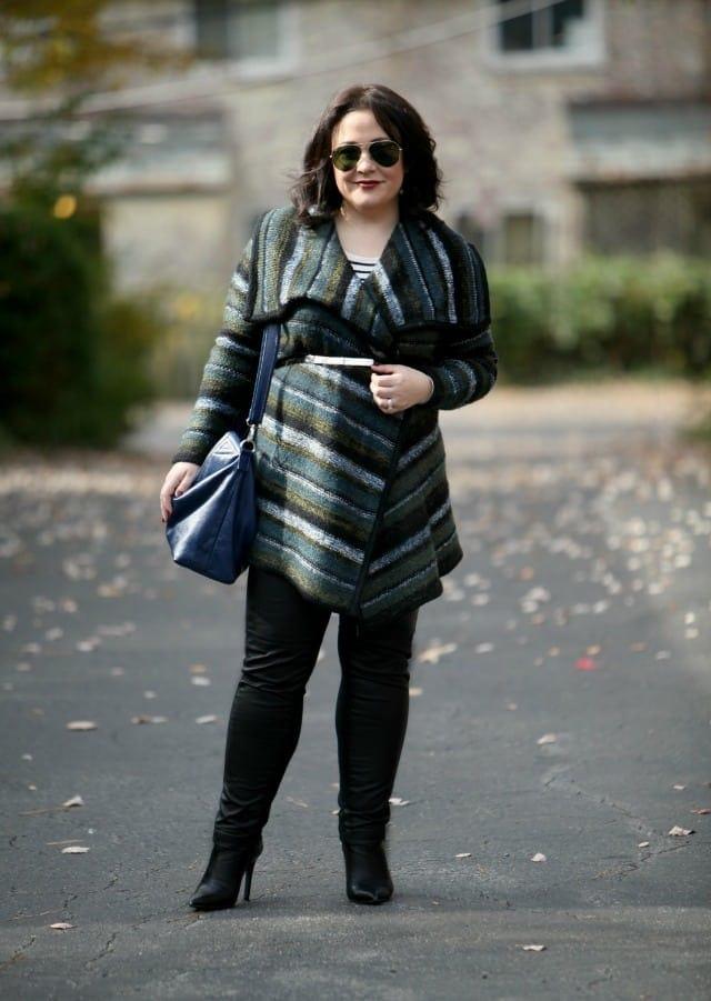 wardrobe oxygen what I wore kensie blanket sweater leather leggings