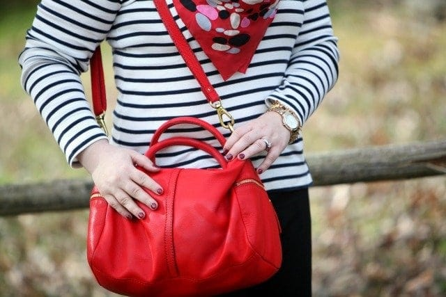 wardrobe oxygen what i wore fossil red leather bag