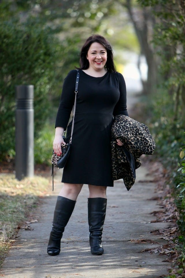 wardrobe oxygen what I wore dobbin clothing ponte dress wide calf boots