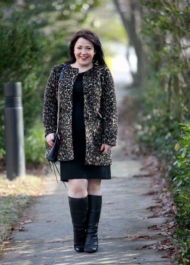 wardrobe oxygen what I wore leopard talbots dobbin dress wide calf boots